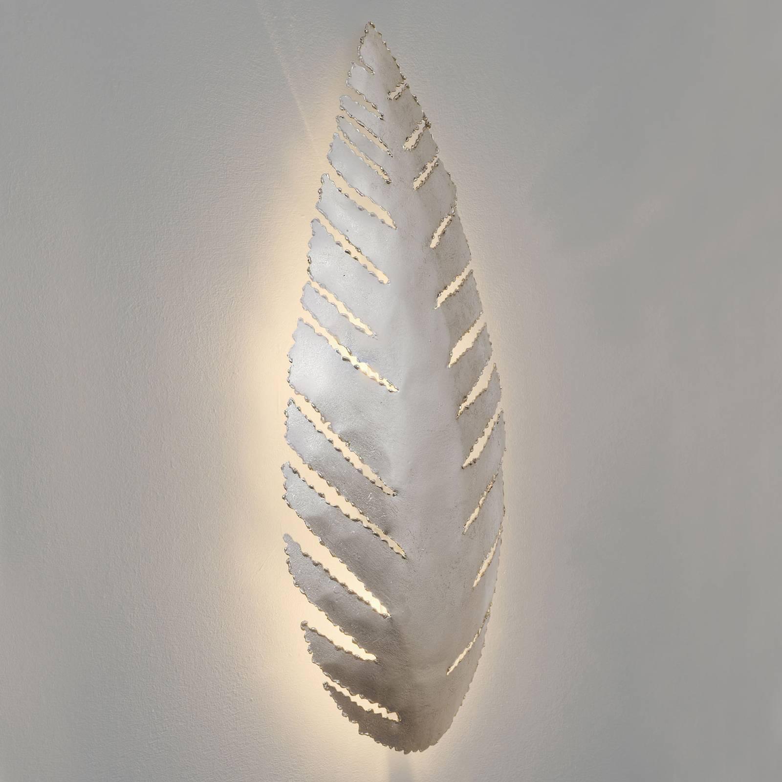 Pietro-seinävalaisin, lehden muotoinen, hopea