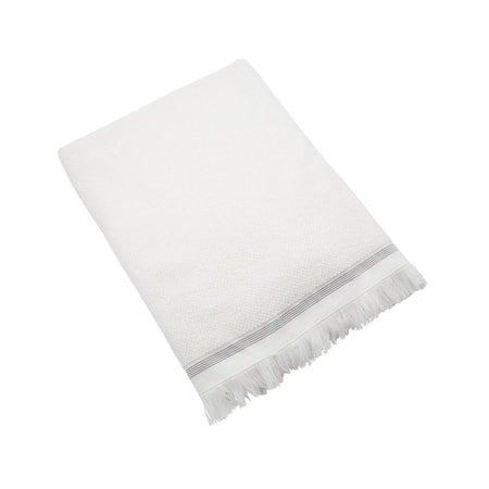Håndkle 100x180 cm Hvit med Grå streker