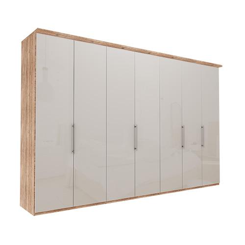 Garderobe Atlanta - Lys rustikk eik 350 cm, 216 cm, Med gesims