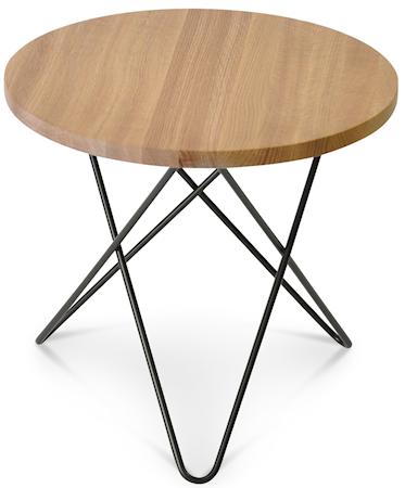 Mini O table wood - Oak, black frame