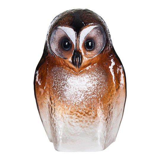 Målerås Glasbruk - Safari Sculptures Uggla 24 cm Brun