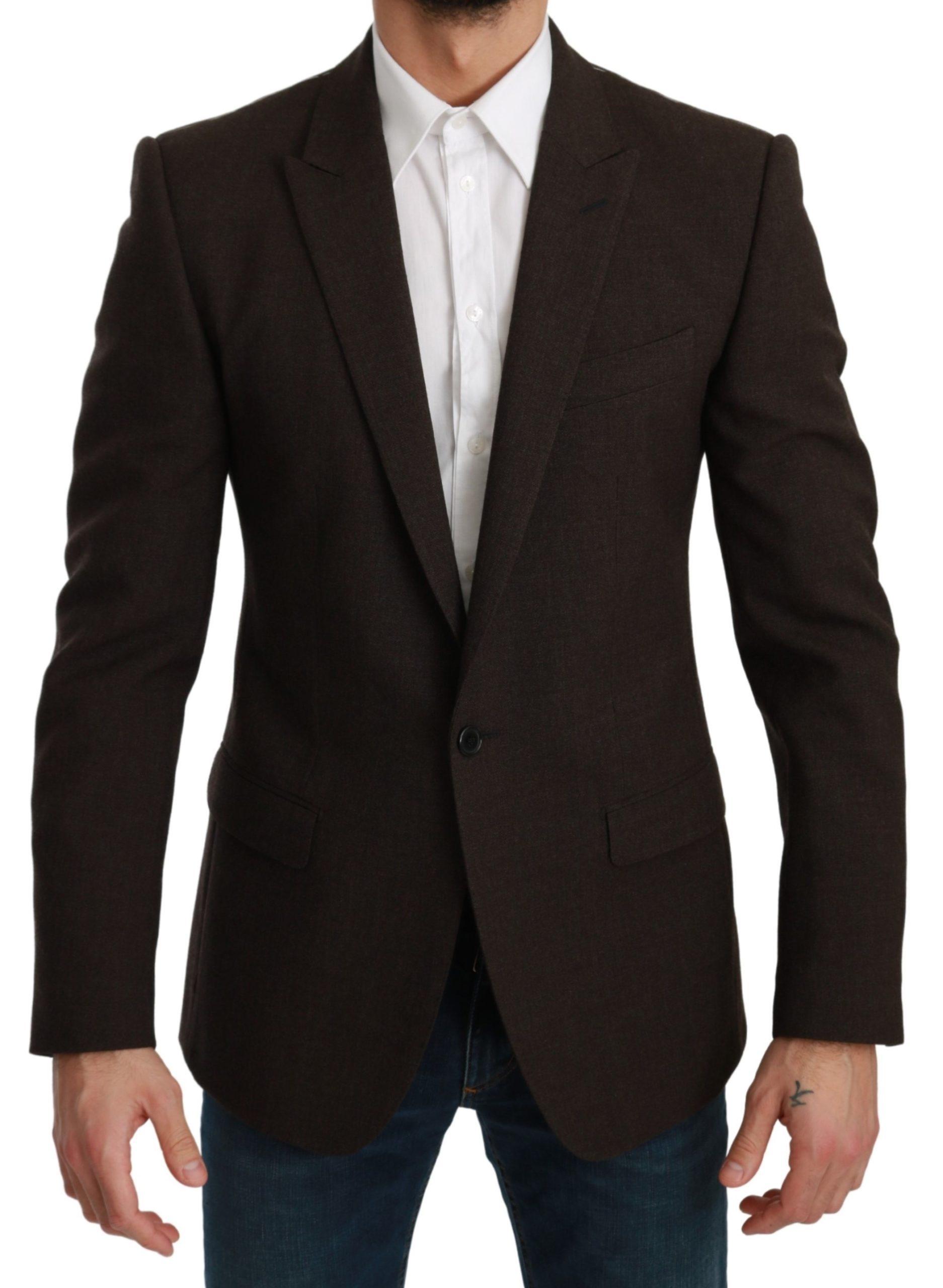 Dolce & Gabbana Men's Slim Fit Coat Jacket MARTINI Blazer Brown KOS1774 - IT48 | M