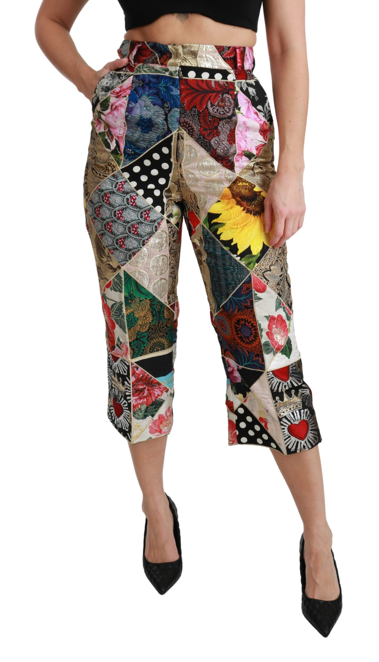 Dolce & Gabbana Women's Print High Waist Cropped Trouser Multicolor PAN70937 - IT40|S