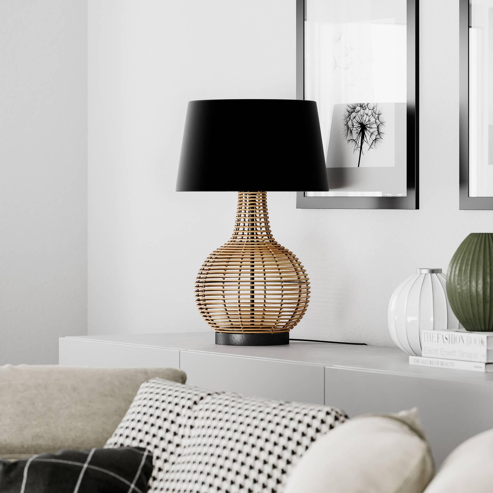 By Rydéns Granada pöytälamppu, rottinki ja kangas