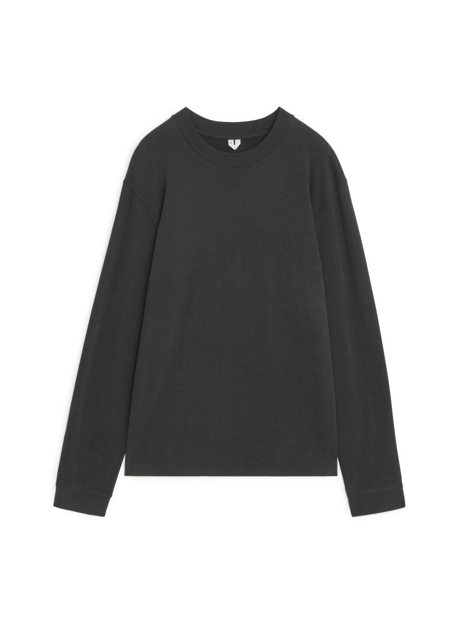 Long-Sleeved Organic Cotton T-Shirt - Black