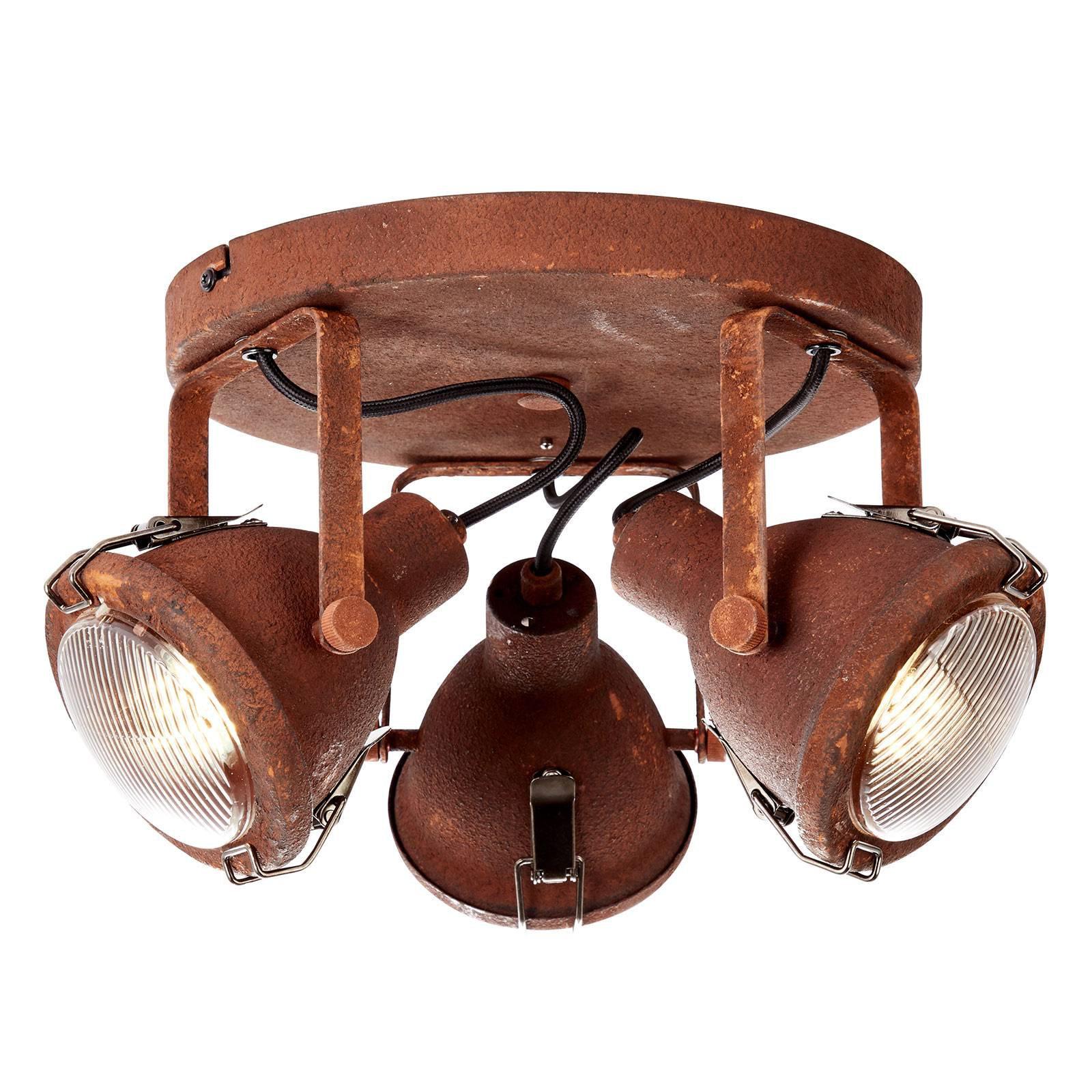 Justerbar sirkelformet taklampe Bentli i rust