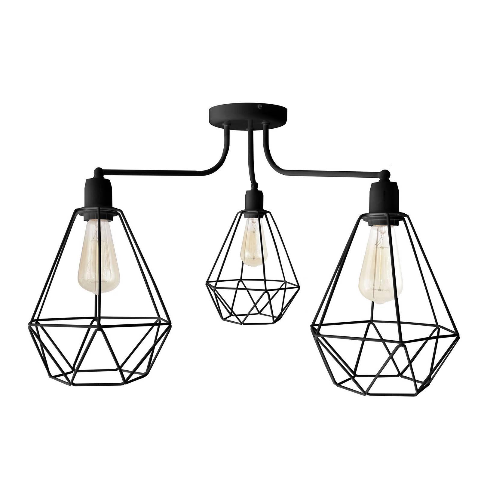 Taklampe Karo, 3 lyskilder, svart