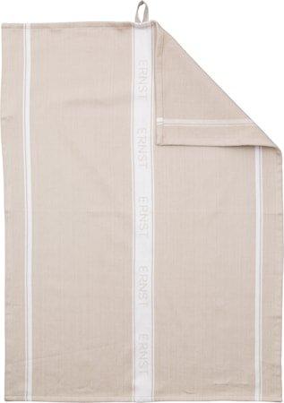 Kjøkkenhåndkle, natur med hvit stripe