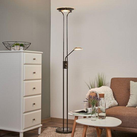 Skinnende LED-uplight Aras, svart krom