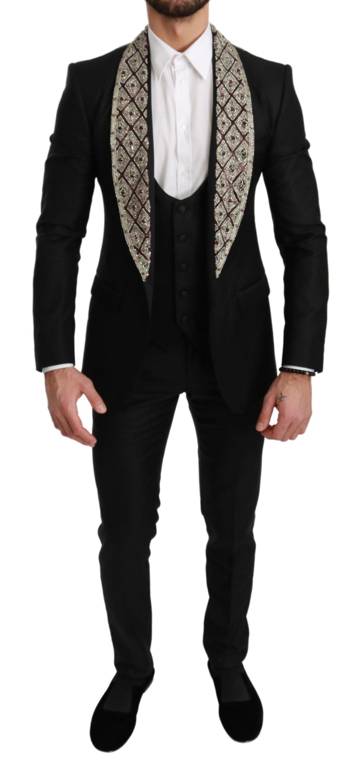 Dolce & Gabbana Men's Crystal Wool 3 Piece SICILIA Suit Black KOS1719 - IT44 | XS