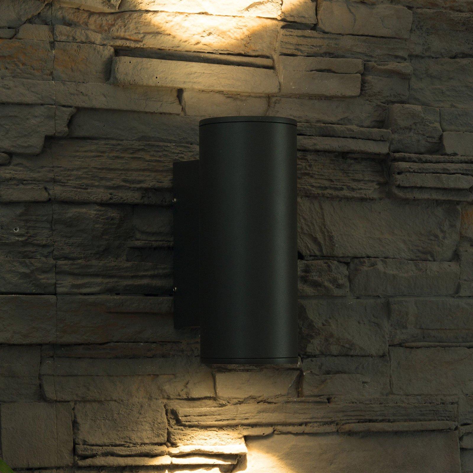 Utendørs LED-vegglampe Doble, rund, up-and-down