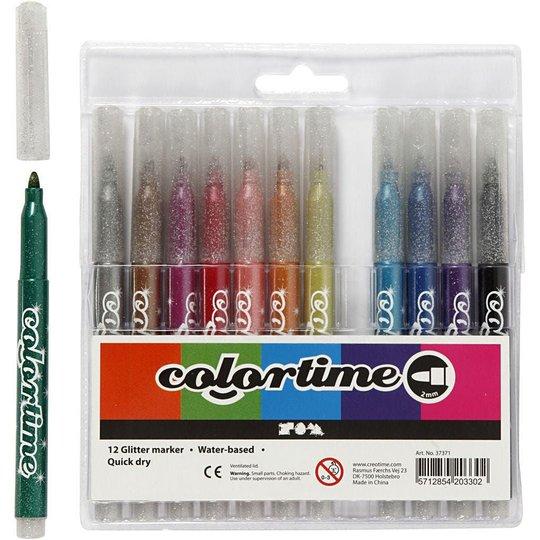 Colortime Glittertusj Miksede Farger 12stk