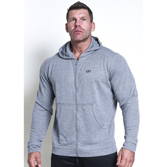 Chained Zip Gym Hood, Grey