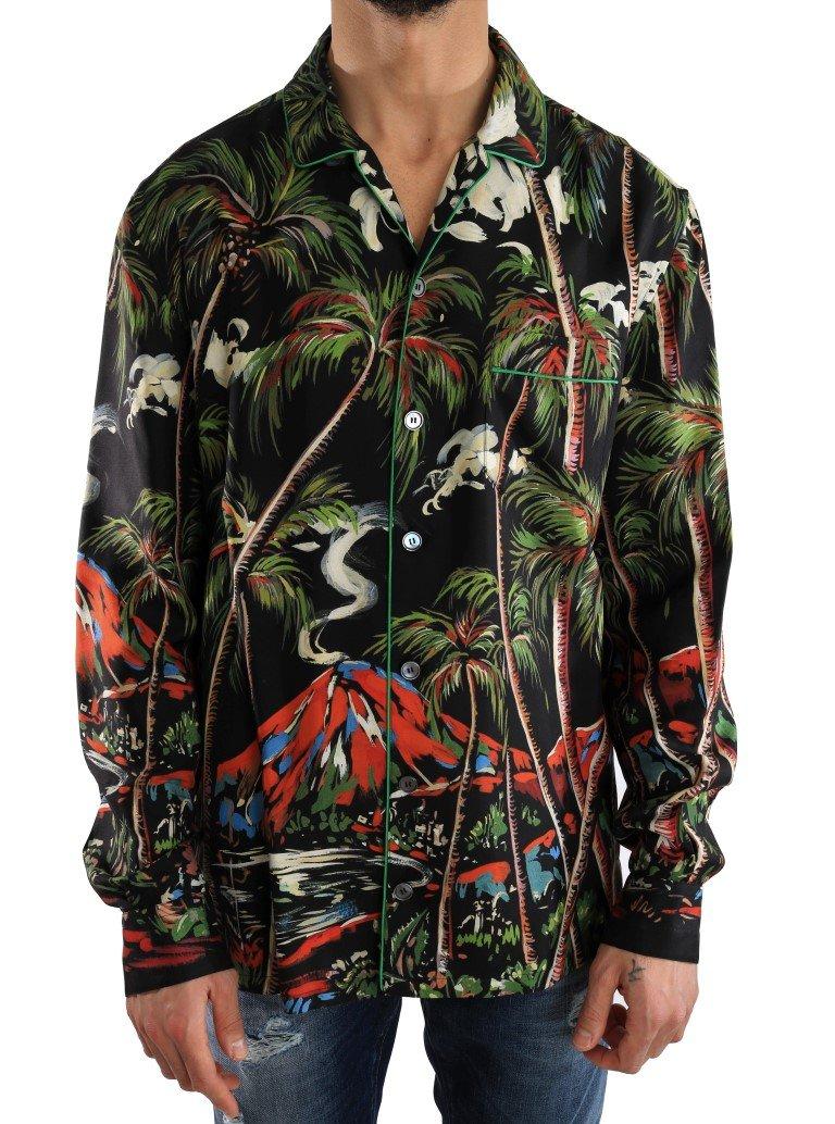 Dolce & Gabbana Men's Silk Jungle Print Shirt Multicolor TSH2056 - 40