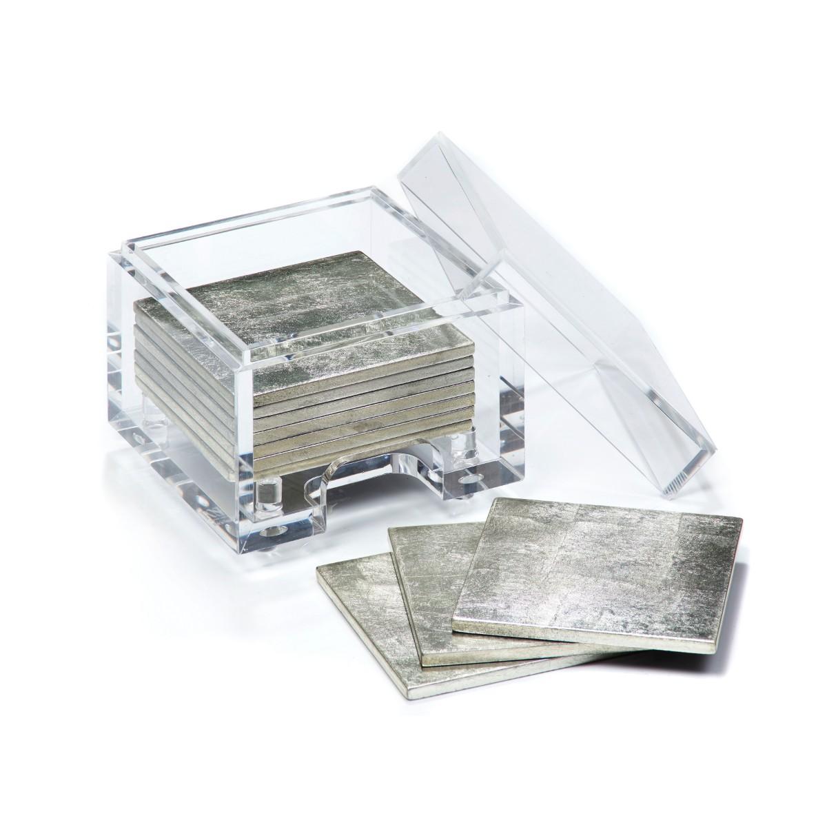 Posh Trading I Coasters I Coastbox Clear I Silver Leaf I Silver