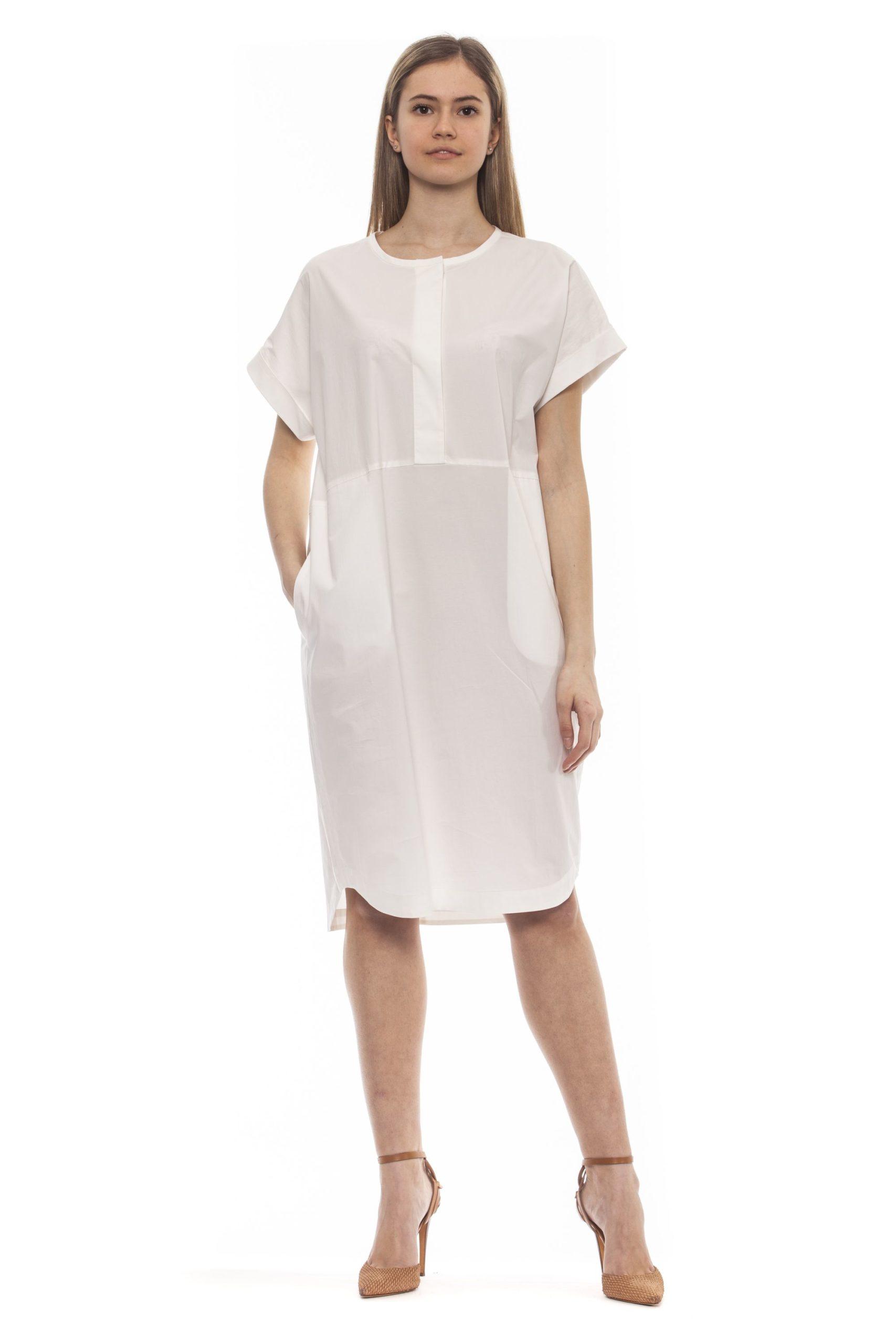 Peserico Women's Bianco Dress White PE1383236 - IT42   S