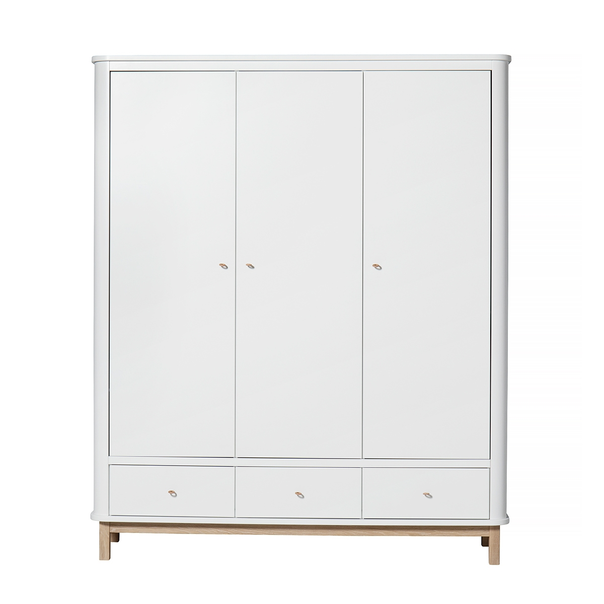 Garderob 3 dörrar Wood vit/ ek, Oliver Furniture