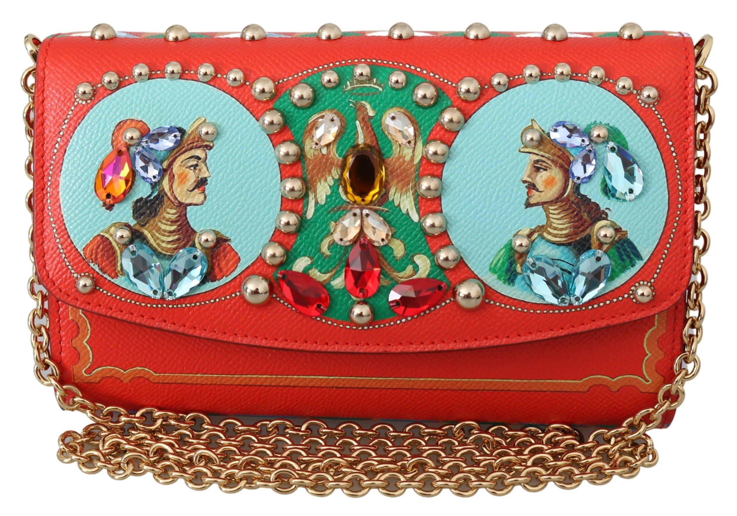 Dolce & Gabbana Women's Crystal Sicily Leather Clutch Bag Red VAS9916
