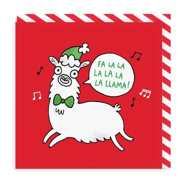Fa La La La Llama Square Christmas Card