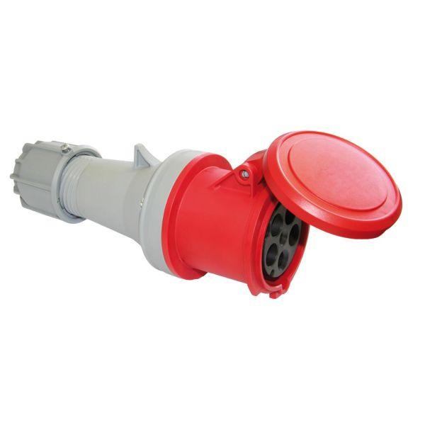 Garo Basic Jatkopistorasiat IP44 5-napainen 63A 6h, punainen