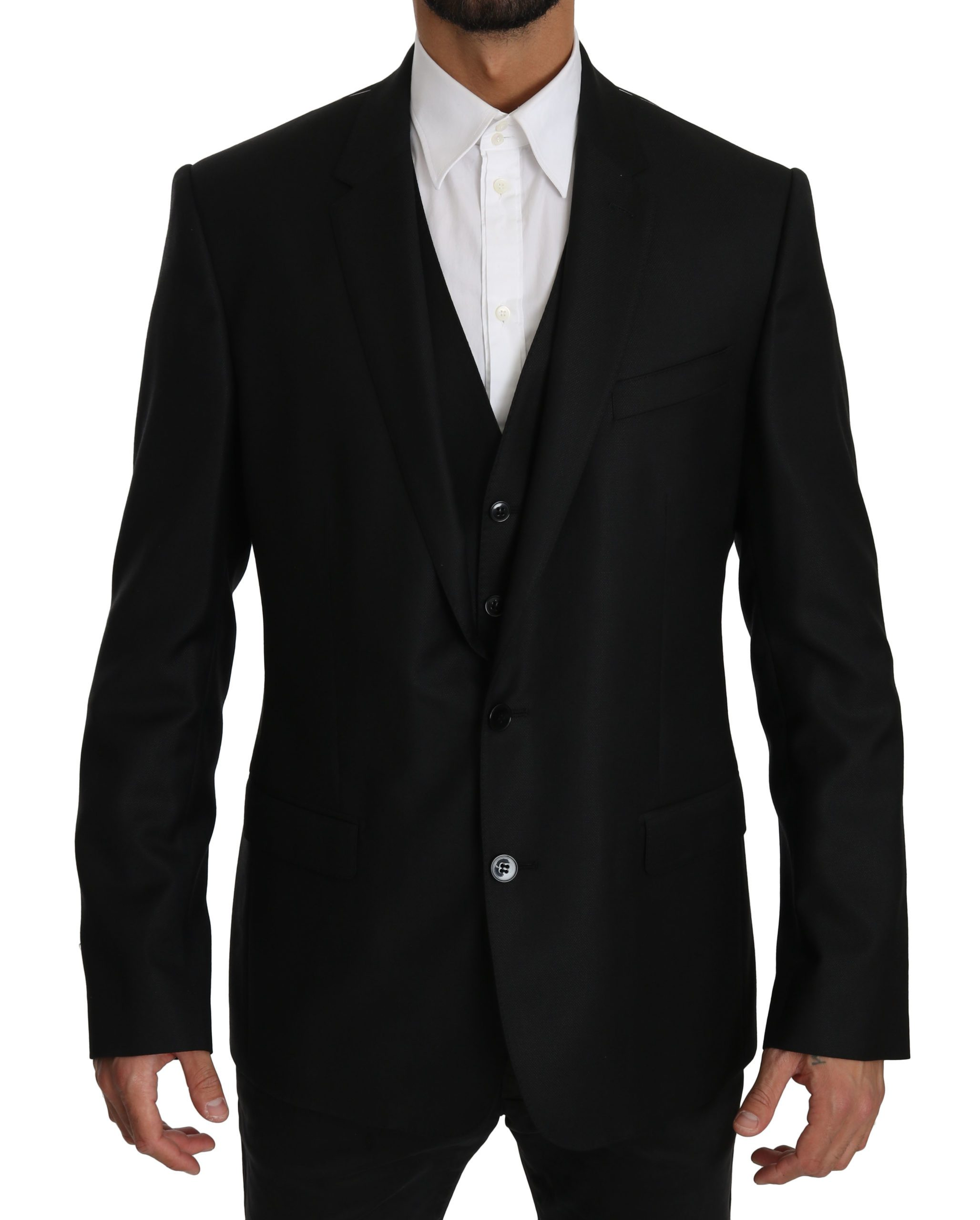 Dolce & Gabbana Men's Two Piece Vest MARTINI Blazer Black KOS1600 - IT52 | XL