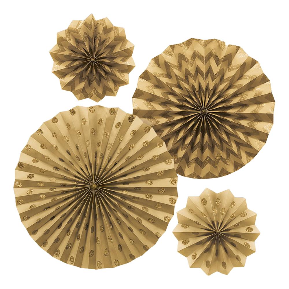 Pappersfjädrar Guld Glitter - 4-pack
