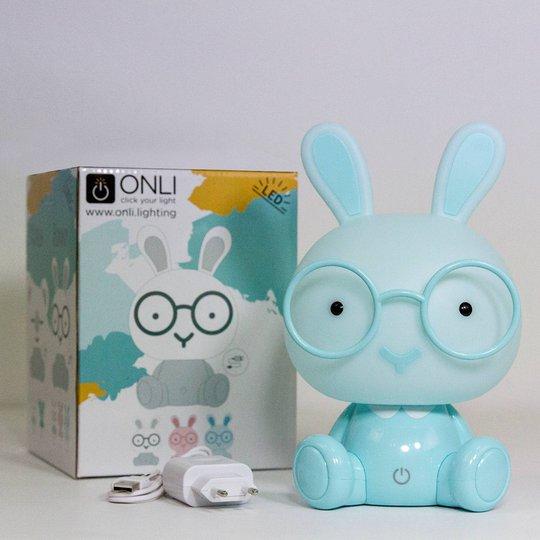 Bunny LED-bordlampe til barnerom, lyseblå