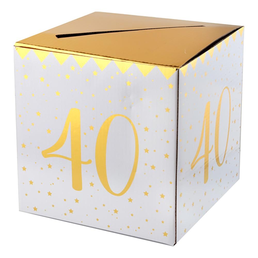 Presentbox Siffra med sedelfack Guld - Siffra 40