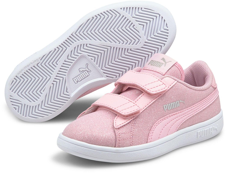 Puma Smash V2 Glitz Glam V PS Sneaker, Pink Lady, 34