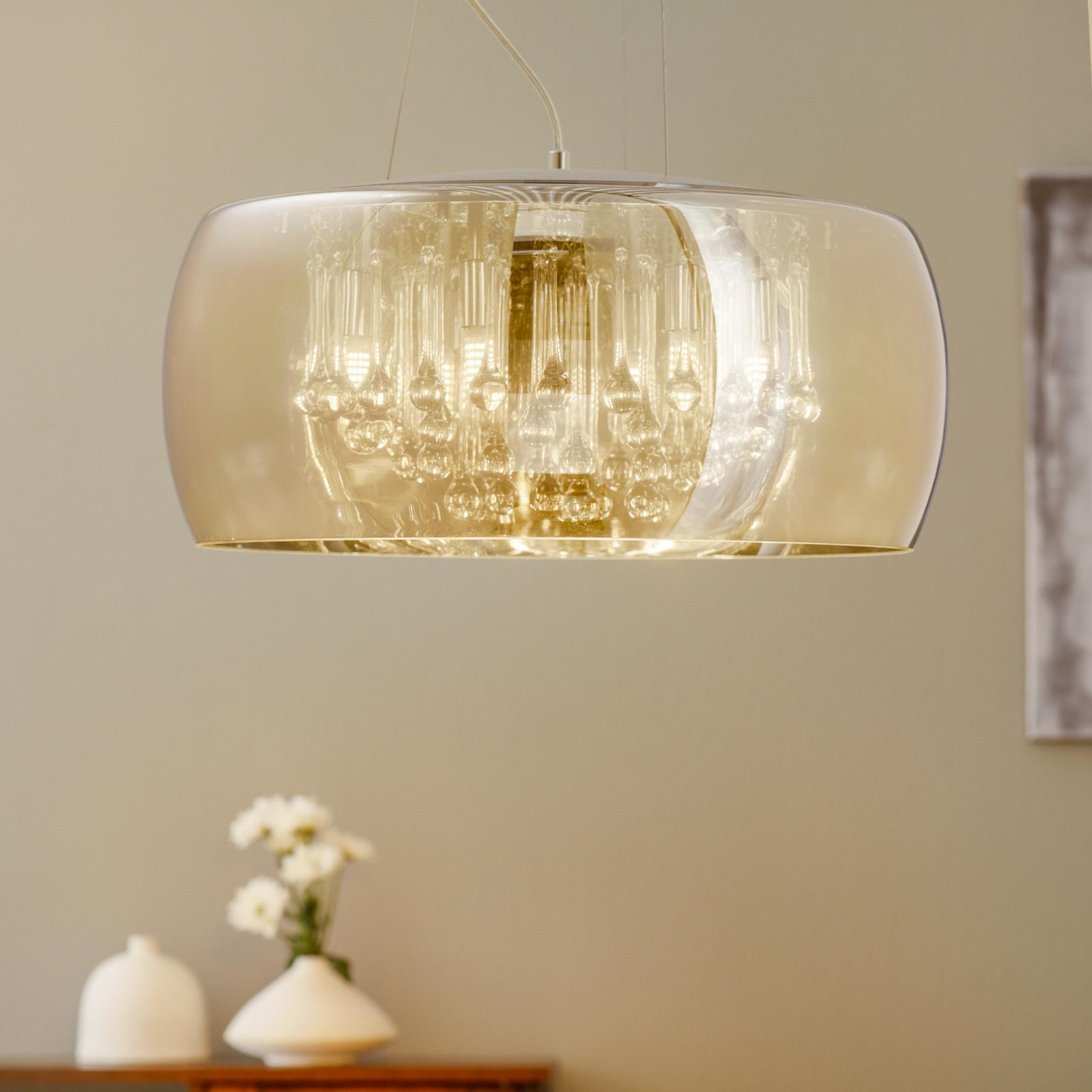 LED-riippuvalaisin Argos kristallipisaroilla Ø50cm
