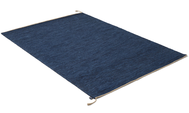 Sofiero mørkeblå - håndvevd ullteppe