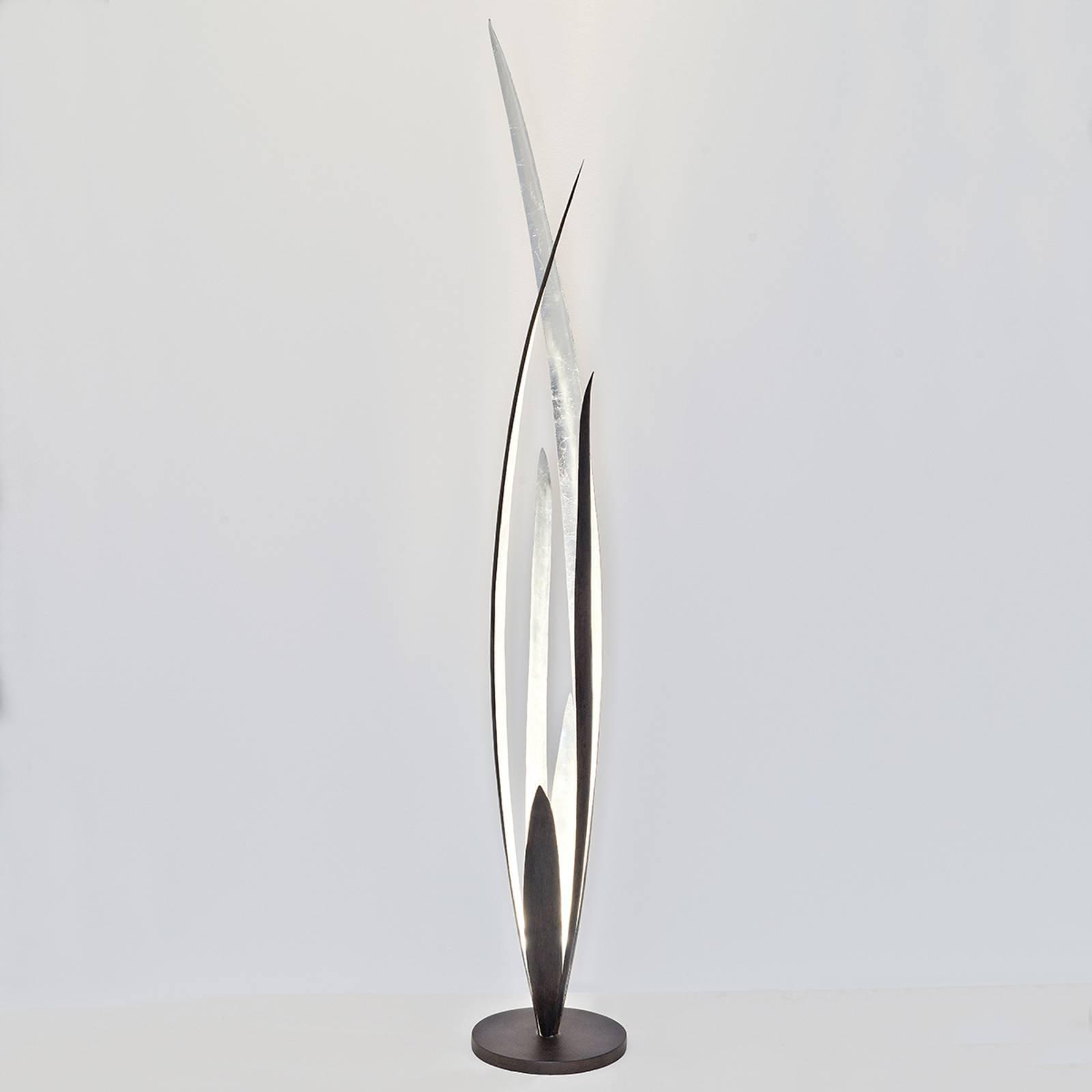 Palustre - gulvlampe, svart-brun-sølv