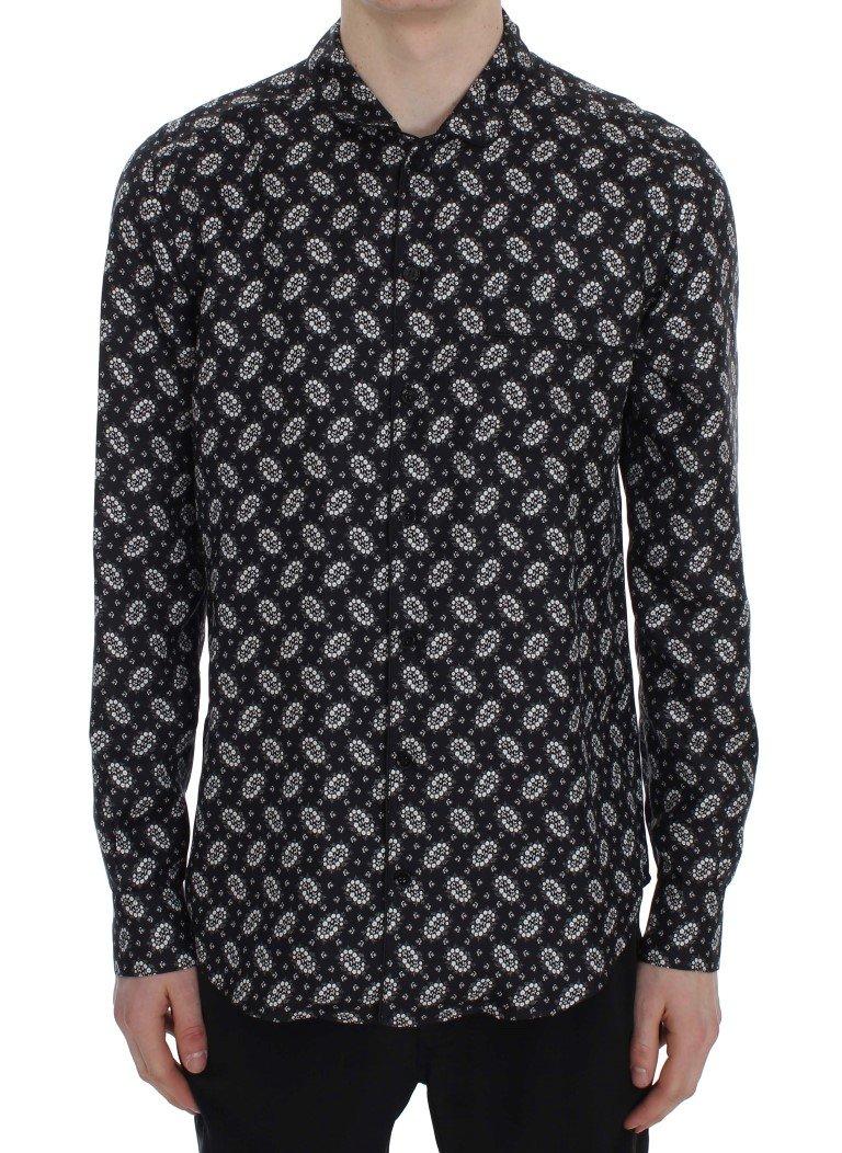 Dolce & Gabbana Men's Floral Print Silk Pajama Shirt Black SIG30058 - XS