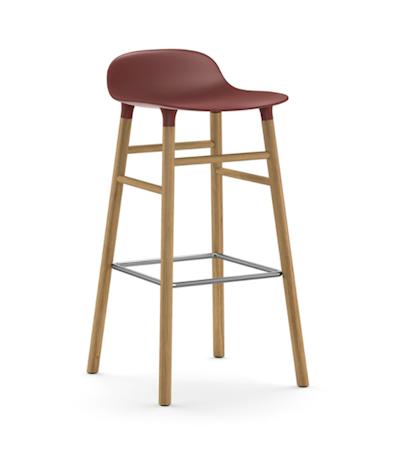 Form Barstol Rød/Eik 75 cm