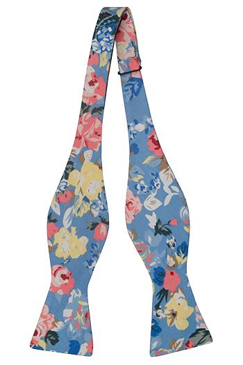 Bomull Sløyfer Uknyttede, Gule og rosa blomster på blå bakgrunn, Blå, Blomster