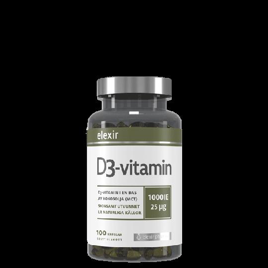 Elexir Pharma D3-vitamin, 25 mcg, 1000 IE, 100 kapslar