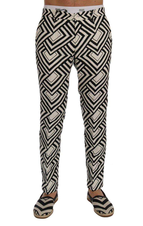 Dolce & Gabbana Men's Striped Linen Casual Trouser Black/White SIG60410 - IT44   XS
