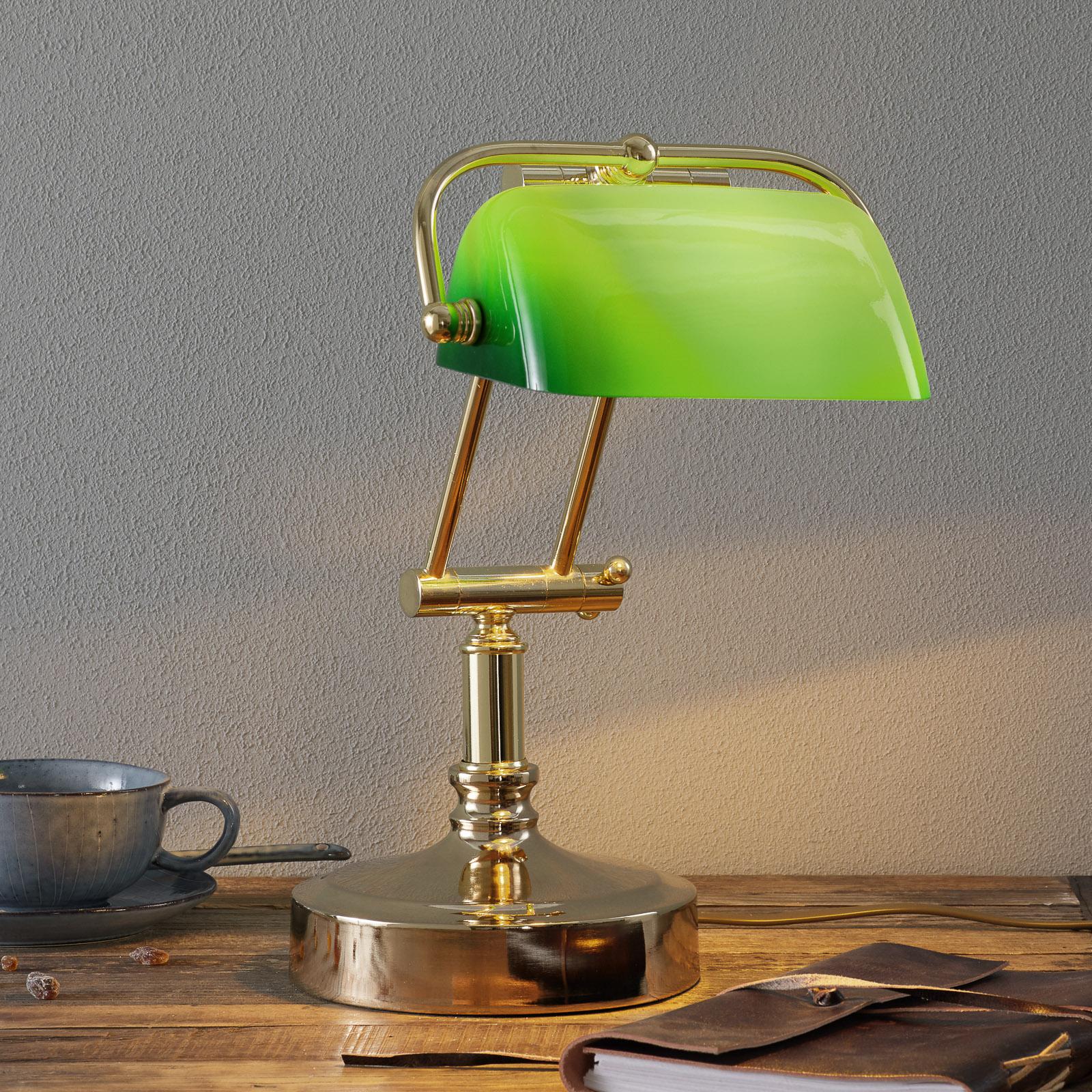 Steve-pankkiirilamppu vihreällä lasivarjostimella
