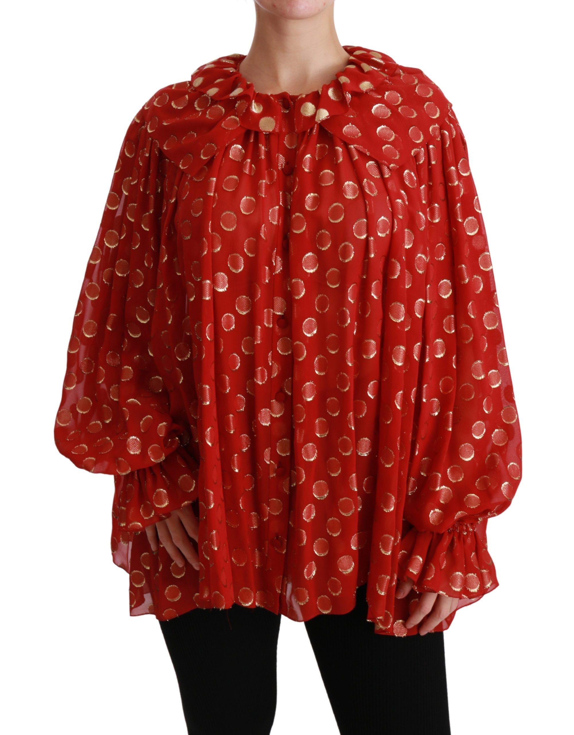 Dolce & Gabbana Women's Silk Long Sleeve Top Red TSH4481 - IT40|S