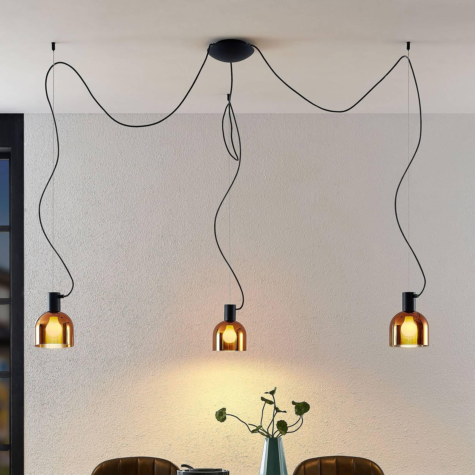Lucande Serina -riippuvalo, 3-lamppuinen, kupari