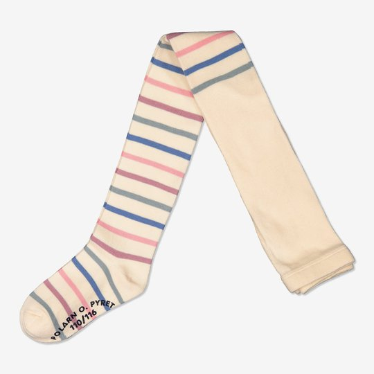 Stripete srømpebukse med sklisikring off-white