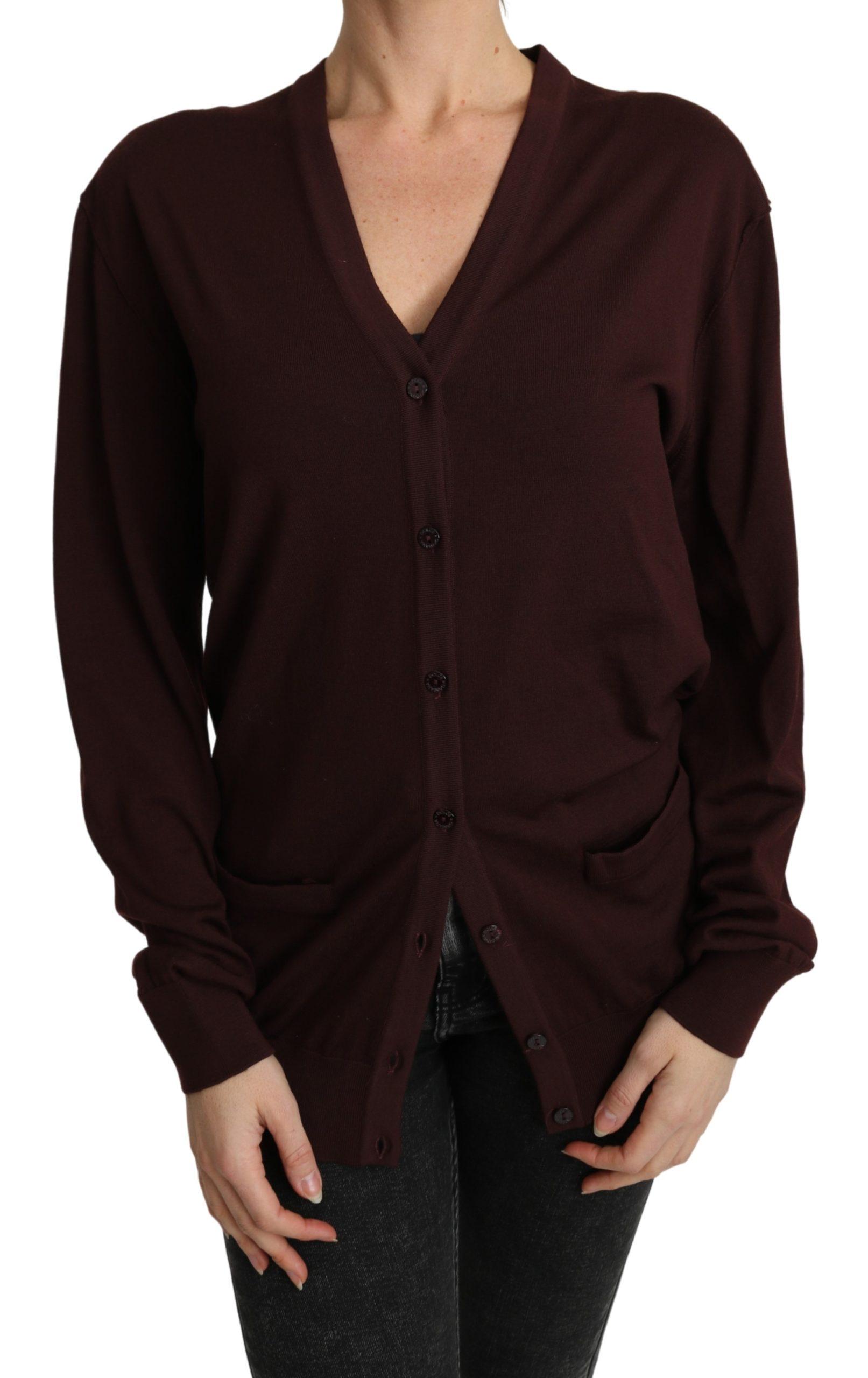 Dolce & Gabbana Women's Virgin Wool Cardigan Bordeaux TSH4844 - IT44|L