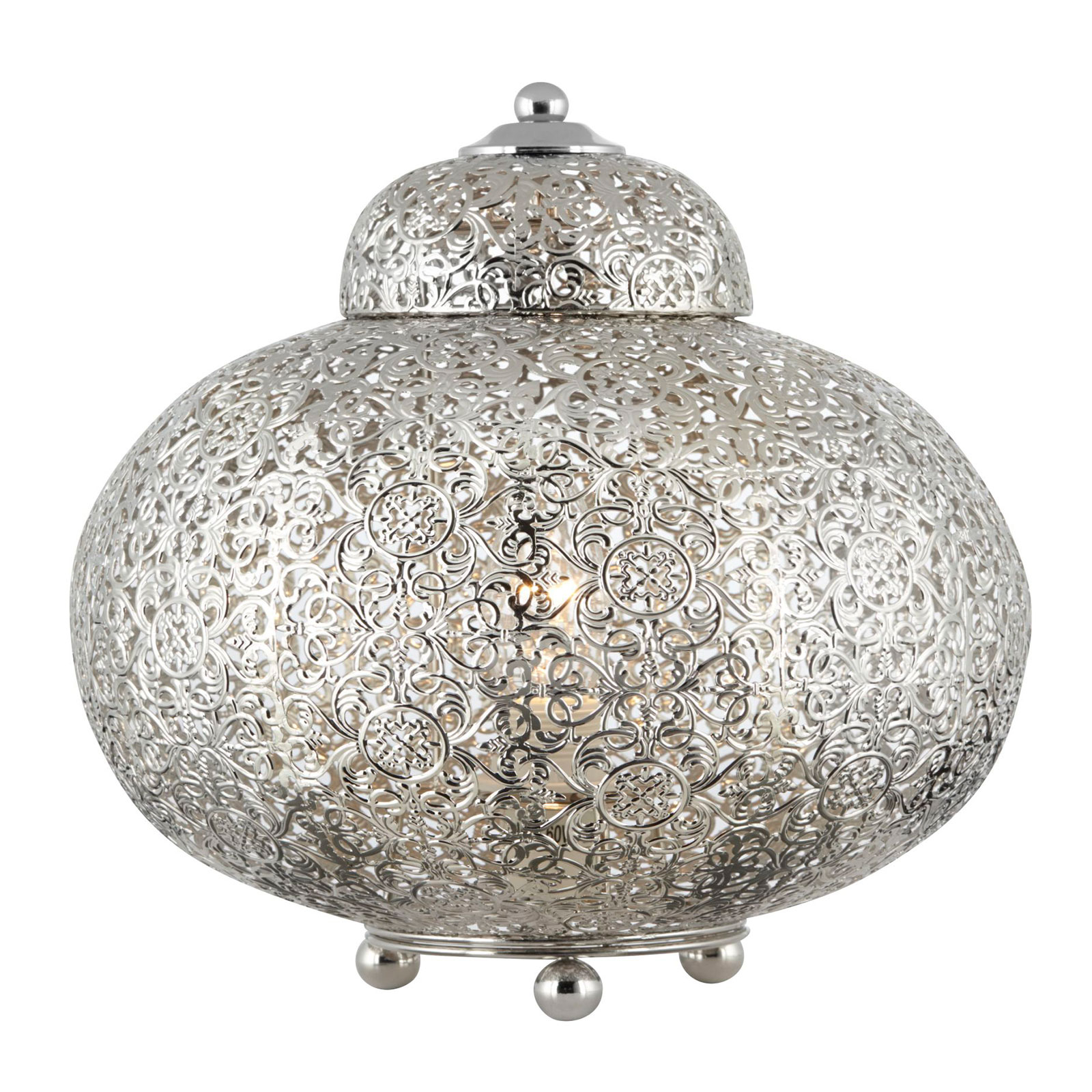 Pöytälamppu Moroccan Fretwork, nikkeli