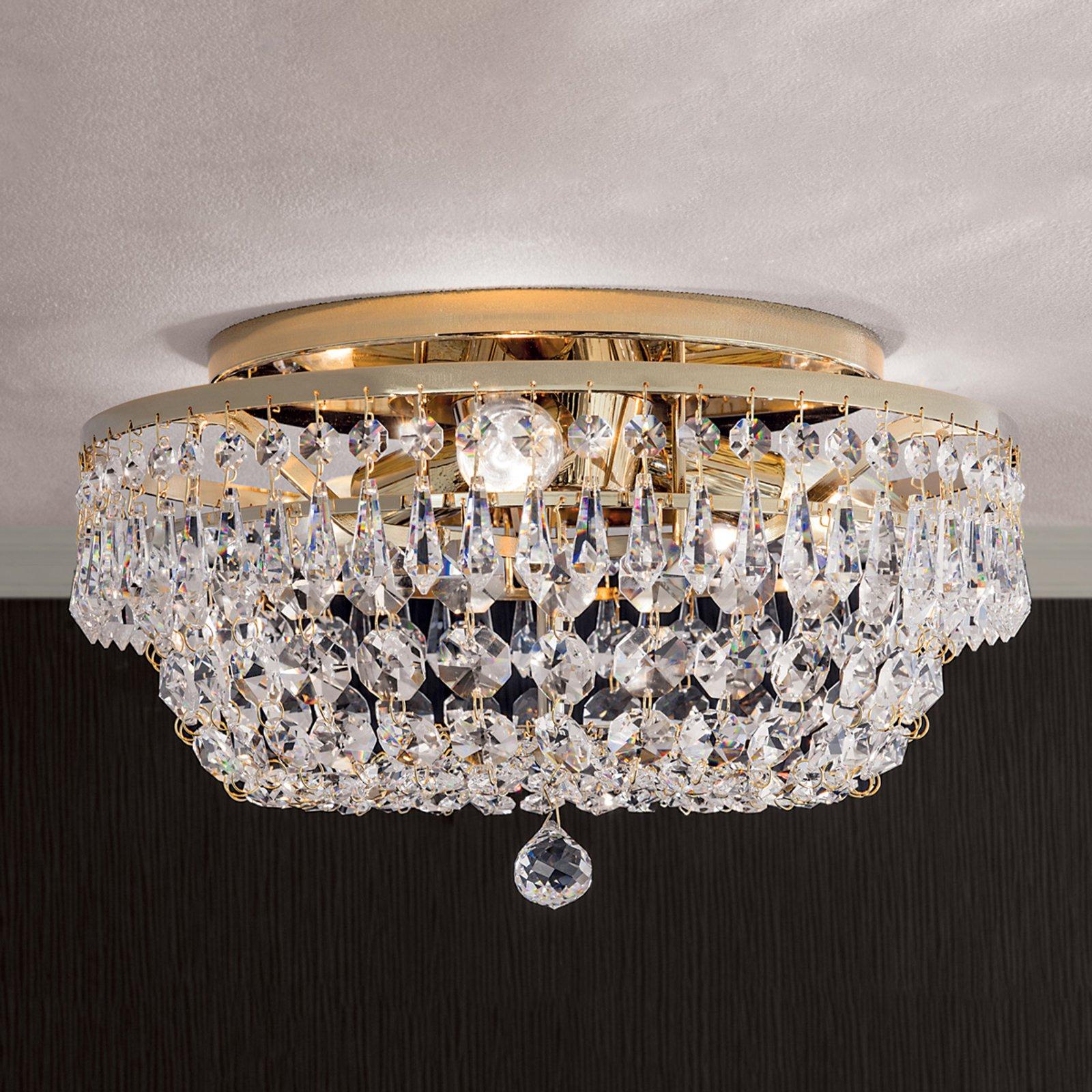Rund SHERATA krystalltaklampe i gull 35 cm