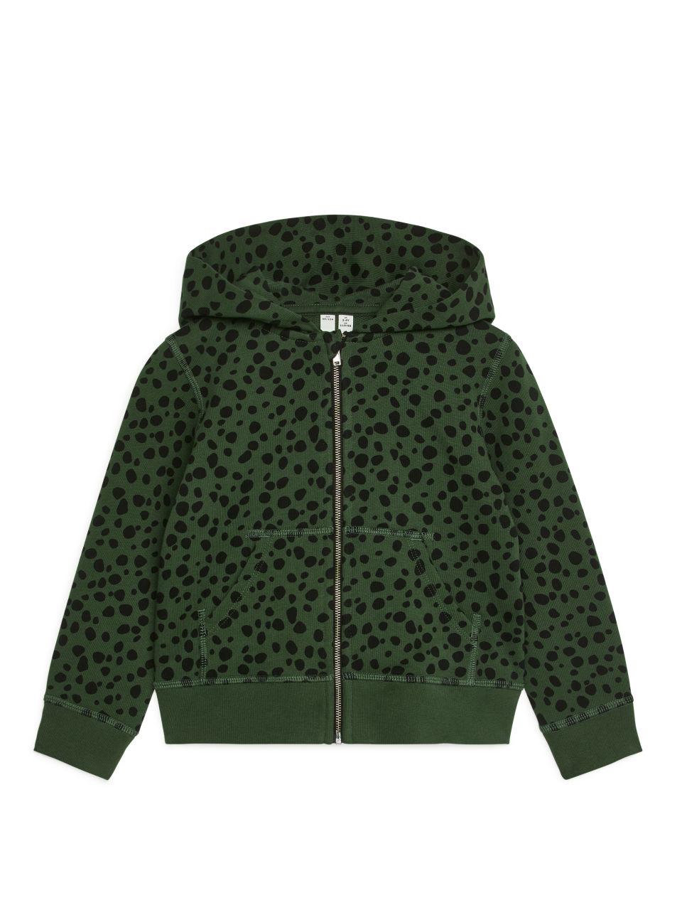 Printed Zip Hoodie - Green