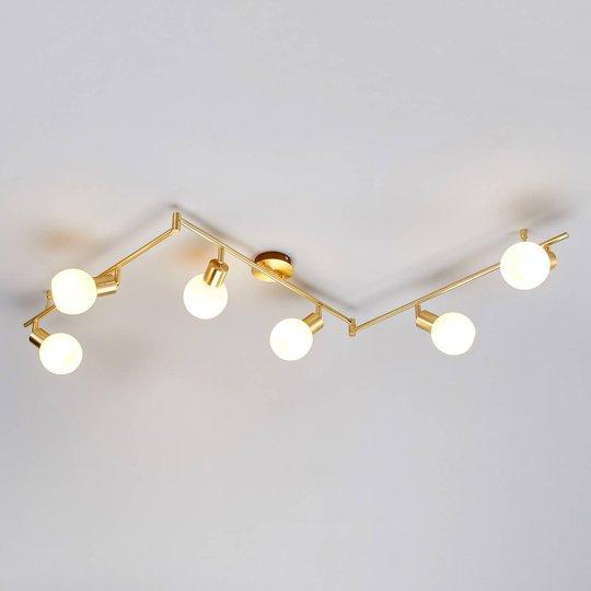 6-osainen LED-kattovalaisin Elaina, messinki