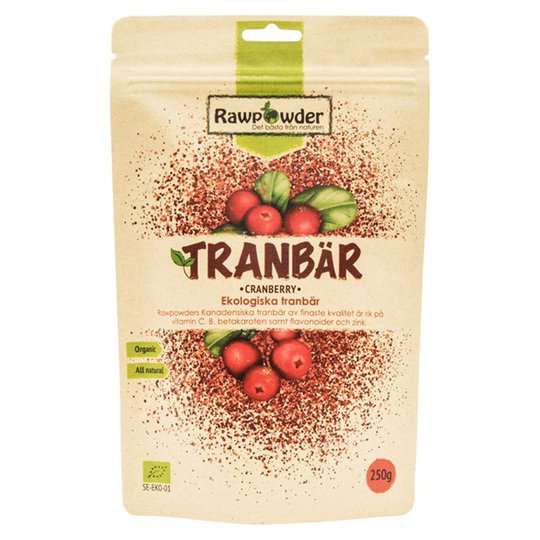 Rawpowder Ekologiska Tranbär, 250 g