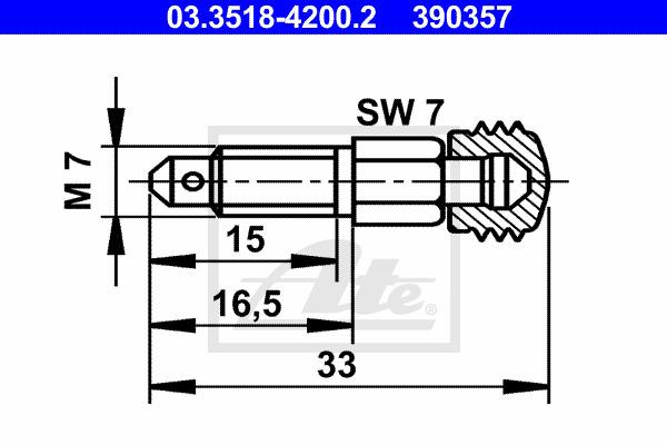 Huohottimen pultti / venttiili ATE 03.3518-4200.2
