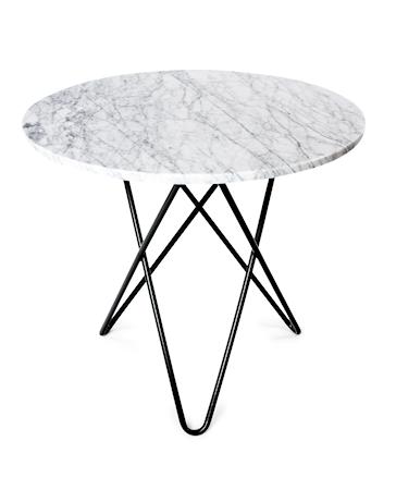 Dining O-table - Hvit marmor, svart understell