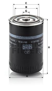 Öljynsuodatin MANN-FILTER W 940/50